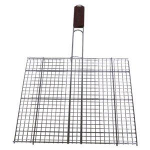 Σχάρα Ψησίματος Ανοξείδωτη καρέ 34 Χ 38 εκ. με ξύλινη λαβή ανοξείδωτη σχάρα καρέ