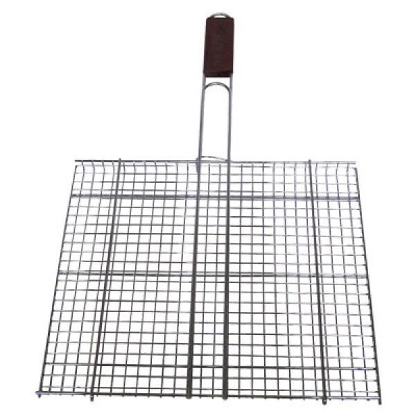 Σχάρα Ψησίματος Ανοξείδωτη καρέ 35 Χ 44 εκ. με ξύλινη λαβή ανοξείδωτη σχάρα καρέ