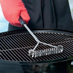 Τρίγωνη Συρμάτινη Βούρτσα Καθαρισμού BBQ με λαβή χρωμίου βούρτσα
